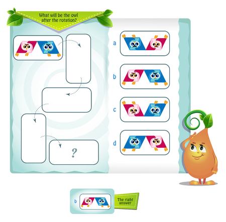 gioco educativo per bambini e adulti sviluppo delle abilità di rotazione mentale, iq. Puzzle di pensiero. Task game quale sarà il gufo dopo la rotazione Vettoriali