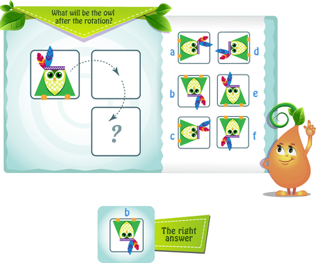 educational game for kids and adults development of mental rotation skills, iq. Thinking Puzzles . Task game what will be the owl after the rotation