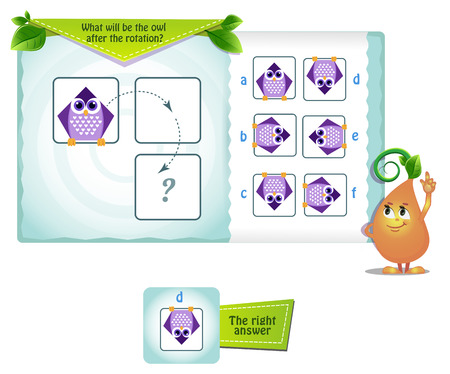educational game for kids and adults development of mental rotation skills, iq. Thinking Puzzles . Task game what will be the owl after the rotation Vettoriali