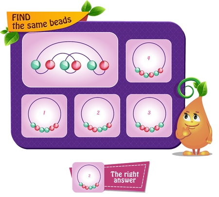 educational game for kids and adults development of mental rotation skills, iq. Thinking Puzzles . Task game find the same beads