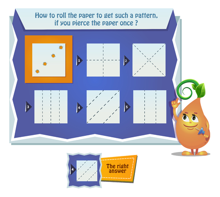 educational game for kids, puzzle. development of spatial thinking in children. Task game how to roll the paper to get such a pattern, if you pierce the paper once ? Illustration