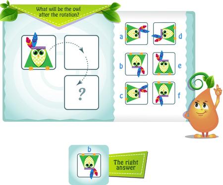 gioco educativo per bambini e adulti sviluppo delle abilità di rotazione mentale, iq. Puzzle di pensiero. Task game quale sarà il gufo dopo la rotazione