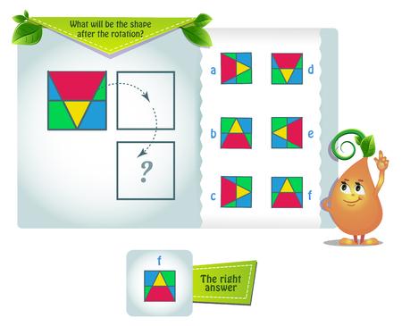 gioco educativo per bambini e adulti sviluppo delle abilità di rotazione mentale, iq. Puzzle di pensiero. Task game quale sarà la forma dopo la rotazione Vettoriali