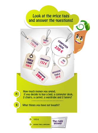educational game for kids and adults development of memory training. Task game Look at the price tags and answer the questions. Illustration