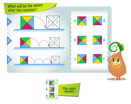 gioco educativo per bambini e adulti sviluppo delle abilità di rotazione mentale, iq. Puzzle di pensiero. Task game quale sarà la forma dopo la rotazione