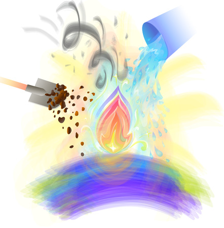 concept of preserved divine beginning, testing, survival, dealing with difficulties in the form of fire that they try to destroy, flooding with water, throwing earth and wind. Illustration on the theme of the soul