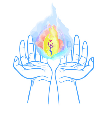 Heavenly fire in the hands. Love, hope and care concept