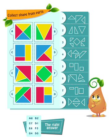 educational game for kids and adults development of logic, iq. Task game  collect shape  from parts