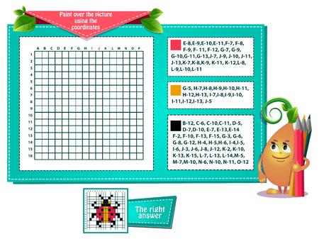 gioco educativo per bambini e adulti sviluppo della logica, iq. Il gioco delle attività dipingi sull'immagine usando le coordinate Vettoriali