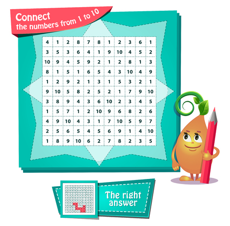 visual game for children and adults. Riddle on logic, iq. Development of attention. Task game сonnect the numbers from 1 to 10