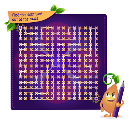 game for developing attention for children and adults. Task game find the right way out of the maze Illustration