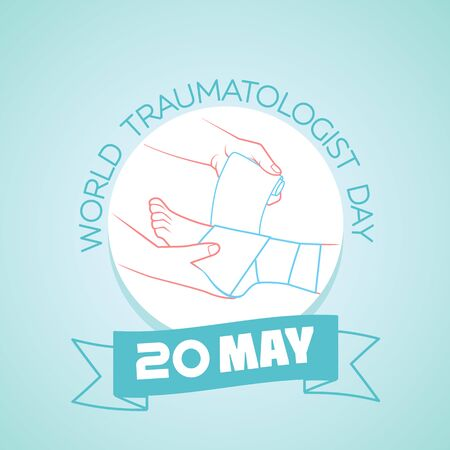 Calendar for each day on may  20. Greeting card. Holiday - World traumatologist day. Icon in the linear style