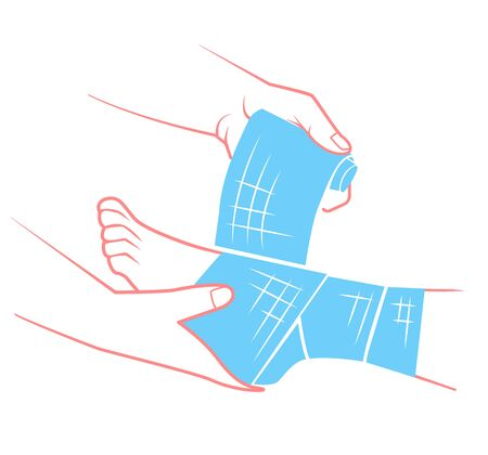 first aid in the form of a hand that bandaging the foot. Illustration in flat style