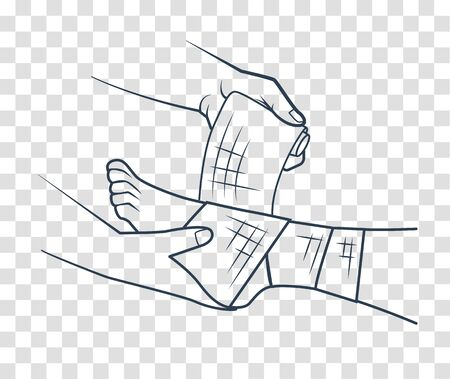 first aid in the form of a hand that bandages the leg. icon, silhouette in linear style  イラスト・ベクター素材