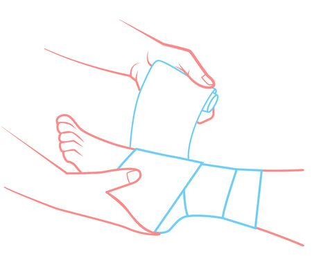 first aid in the form of a hand that bandaging the foot. Illustration in linear style