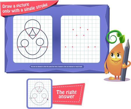 Visual educational game for children and adults. coloring book for brain development and iq. Task game draw a picture only with a single stroke Vektorgrafik