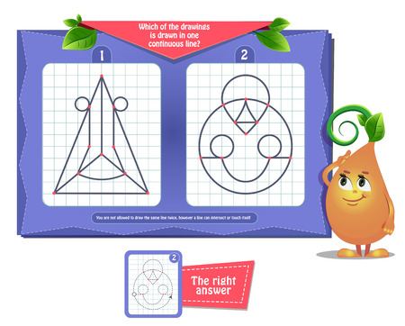 Visual educational game for children and adults. Game for brain development and iq. Task game- which of the drawings is drawn in one continuous line. Illustration