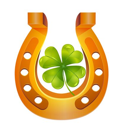 Golden horseshoe and four leaf clove, lucky St. Patricks day symbol. Icon dood luck