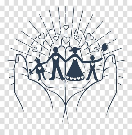 Happy family conservation concept in the form of hands that hold the silhouette of a couple with children. Black and white silhouette, icon in the linear style 일러스트