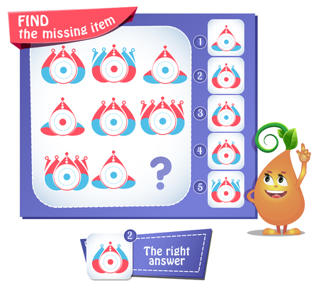 educational game for kids and adults, puzzle. development of logic, iq. Task game find the missing item  イラスト・ベクター素材