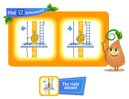 visual game for children and adults. Task to find 12 differences in the summer illustration  with  funny fruits .