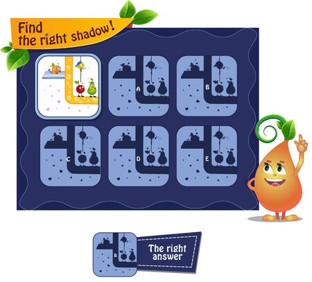 visual game for children and adults. Task game the find right shadow with  funny fruits. 일러스트