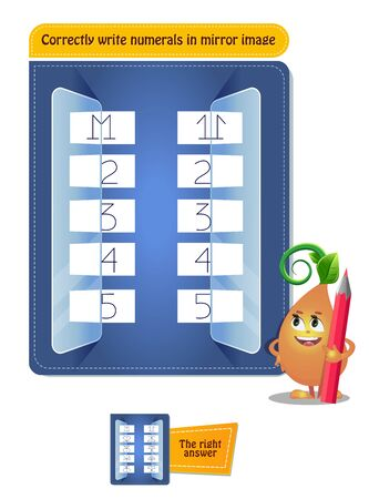 educational game for kids, puzzle. development of spatial thinking in children. Task game correctly write numerals in mirror image