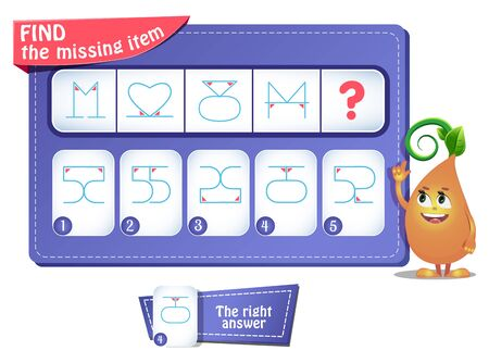 educational game for kids and adults. development of logic, iq. Task game  what comes next? Ilustração