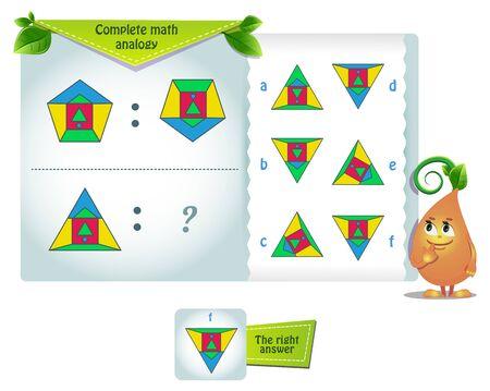 gioco educativo per bambini e adulti sviluppo della logica, iq. Analogia matematica completa Vettoriali