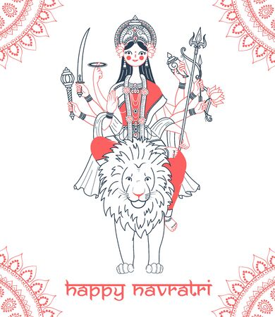 Greeting card. Holiday -  Navratri. Icon in the linear style (goddess Durga) Ilustração