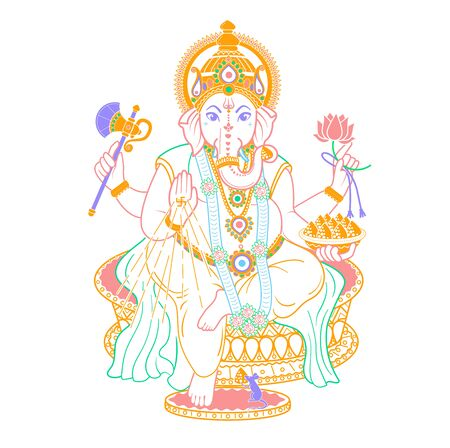 lord Ganesh. Ganesh Puja. Ganesh Chaturthi. It is used for postcards, prints, textiles, tattoo. Icon in the linear style  Ilustração