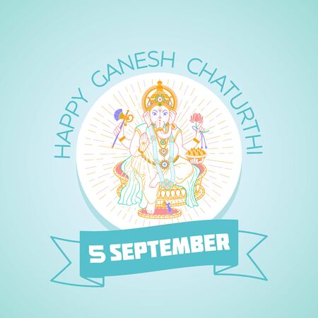 Calendar for each day on september 5 Greeting card. Holiday - Happy  Ganesh  Chaturthi . Icon in the linear style