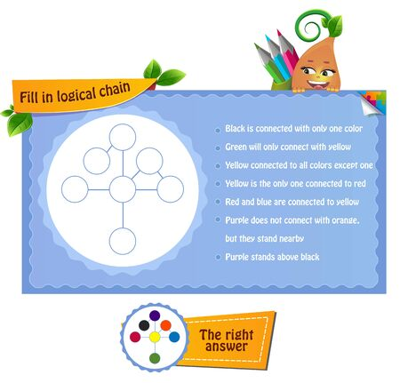 Coloring book for children and adults. Riddle on logic, iq.The development of attention and  knowledge of colors Task game fill in logical chain