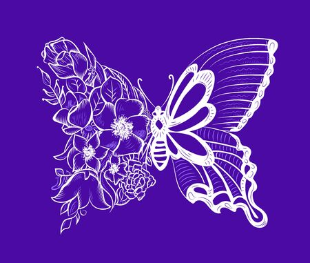 creative butterfly with a wing of flowers. decorative butterfly on a purple background