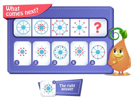 educational game for kids and adults development of logic, iq. Task game for children  what comes next? Stockfoto - 133140844