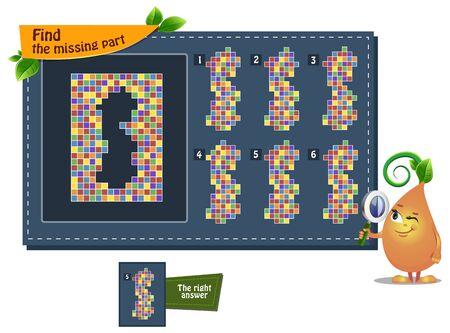 jeu éducatif iq pour les enfants et les adultes développement de la logique, iq. Tâche trouver la pièce manquante