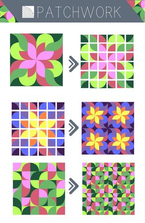 Quilt sewing pattern, patterns for patchwork.  Isolated objects on white background
