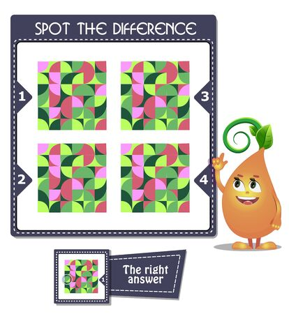visual game for children and adults. Task game Spot the difference mosaic Stock Illustratie