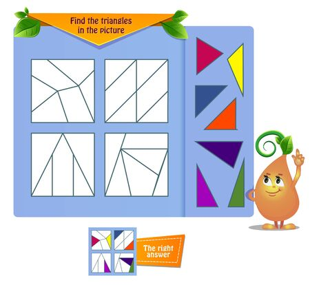 educational game for kids and adults . Thinking Puzzles . Task game find the triangles in the picture
