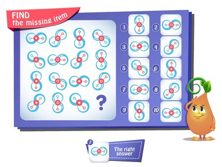 educational game for kids and adults, puzzle. development of logic, iq. Task game find the missing item Stock Illustratie