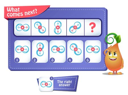 educational game for kids and adults. development of logic, iq. Task game  what comes next? Stock Illustratie