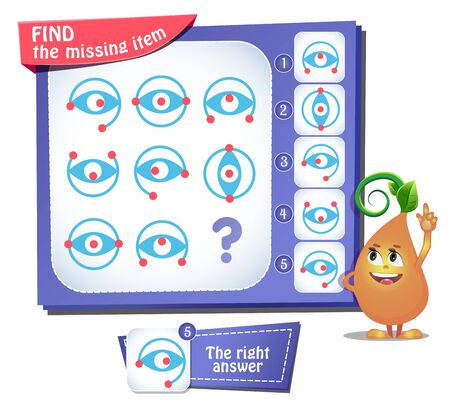 educational game for kids and adults, puzzle. development of logic, iq. Task game find the missing item Stockfoto - 133140854