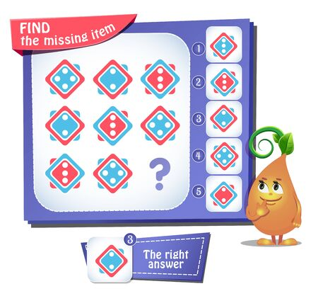 educational game for kids and adults, puzzle. development of logic, iq. Task game find the missing item Stockfoto - 133140856