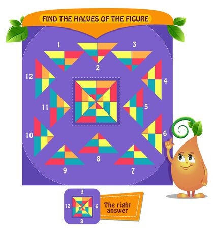educational game for kids and adults development of logic; iq. Task game for children find the halves of shape