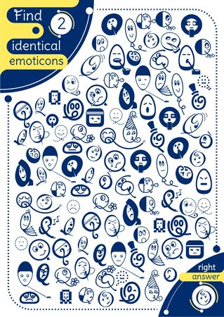 educational game for kids and adults. development of attention, iq children. Task game find 2 identical emotions. A4 print size