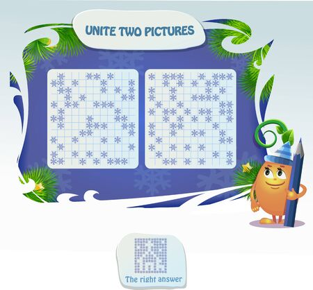 new year puzzles for kids and adults development of logic, iq. Task game unite two pictures and guess what is pictured 免版税图像 - 136296311