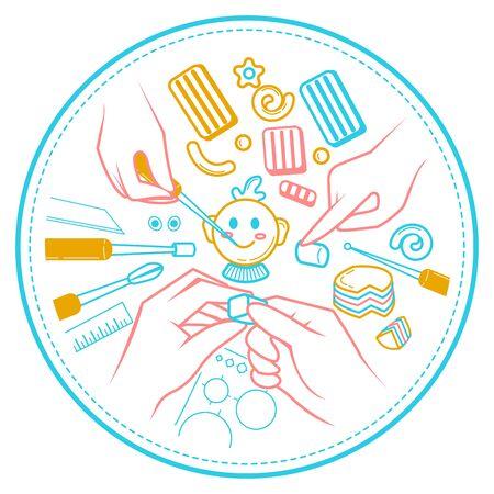 Illustration d'un métier artisanal, en forme de mains qui sculptent en pâte polymère. Vecteurs