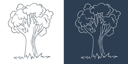 tree black and white illustration. Isolated icon, silhouette in linear style.