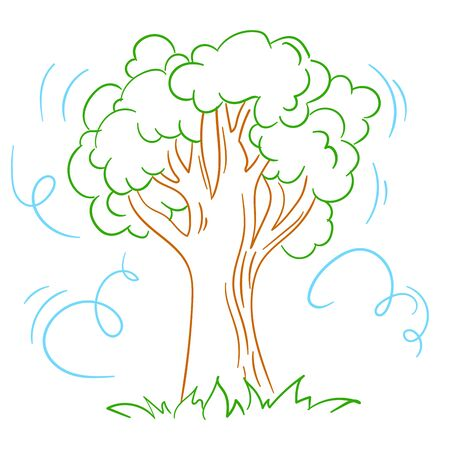 Illustration of a tree in the wind. Isolated icon, silhouette in linear style. Ilustração