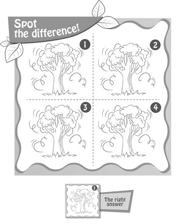 visual game, coloring book for children and adults. Task  game spot the difference. black and white illustration